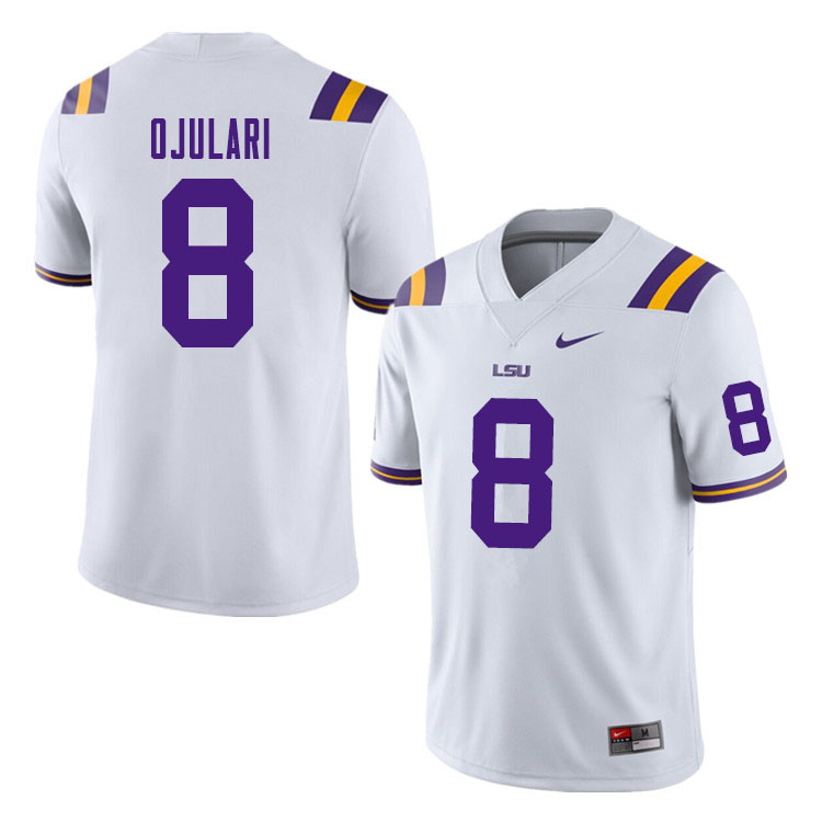 Men #8 BJ Ojulari LSU Tigers College Football Jerseys Sale-White