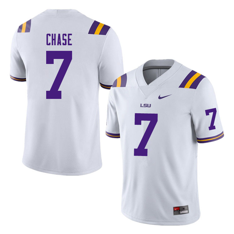 Men #7 Ja'Marr Chase LSU Tigers College Football Jerseys Sale-White