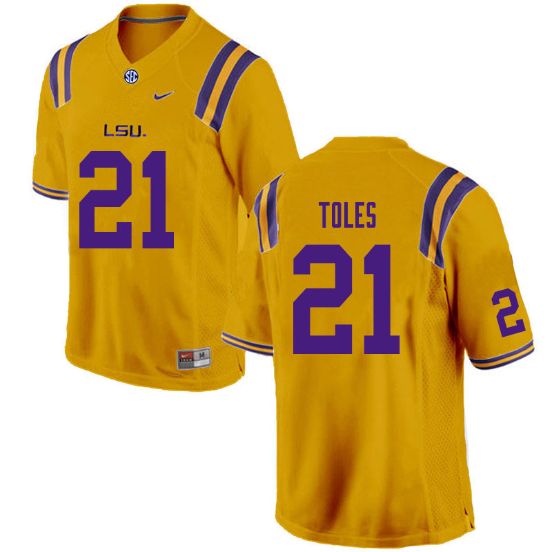 Men #21 Jordan Toles LSU Tigers College Football Jerseys Sale-Gold