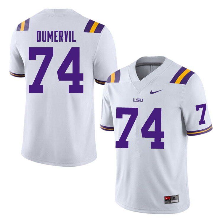 Men #74 Marcus Dumervil LSU Tigers College Football Jerseys Sale-White