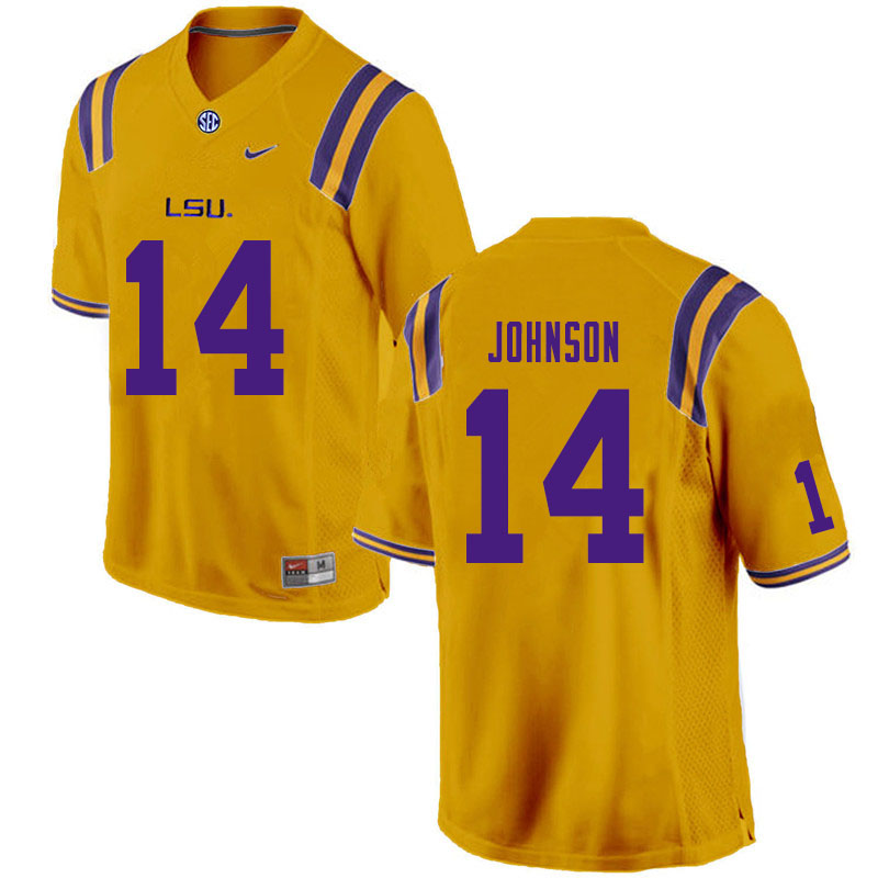 Men #14 Max Johnson LSU Tigers College Football Jerseys Sale-Gold