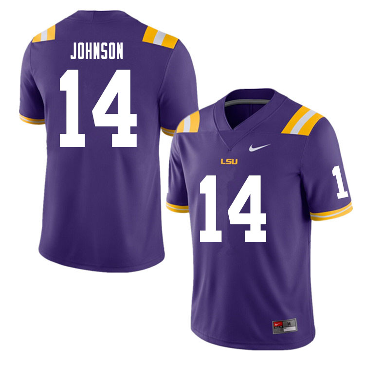 Men #14 Max Johnson LSU Tigers College Football Jerseys Sale-Purple