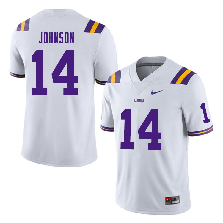 Men #14 Max Johnson LSU Tigers College Football Jerseys Sale-White