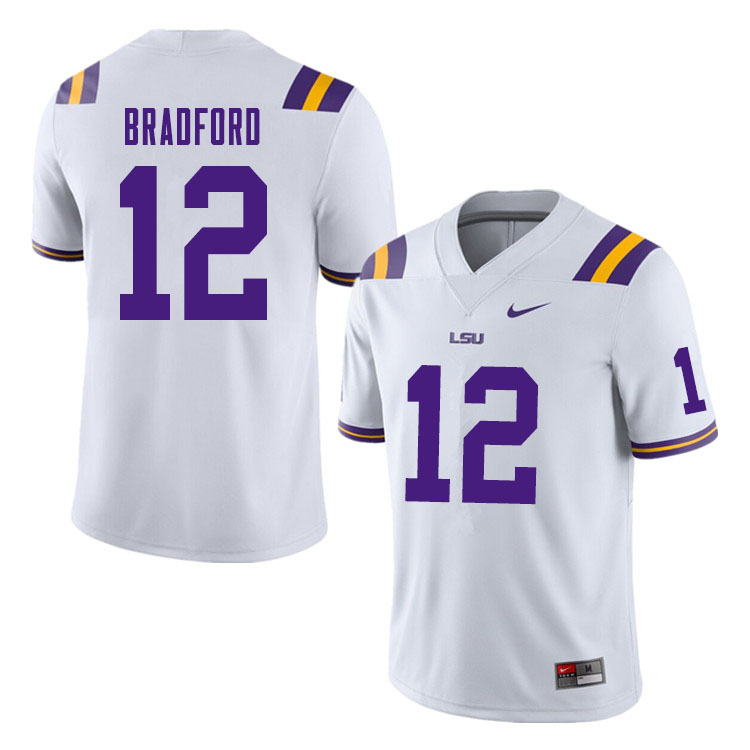Men #12 Tre Bradford LSU Tigers College Football Jerseys Sale-White
