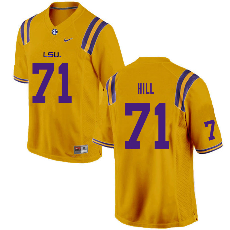 Men #71 Xavier Hill LSU Tigers College Football Jerseys Sale-Gold
