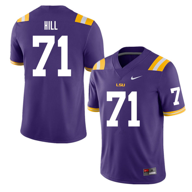 Men #71 Xavier Hill LSU Tigers College Football Jerseys Sale-Purple