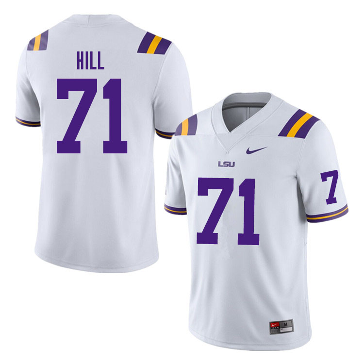 Men #71 Xavier Hill LSU Tigers College Football Jerseys Sale-White