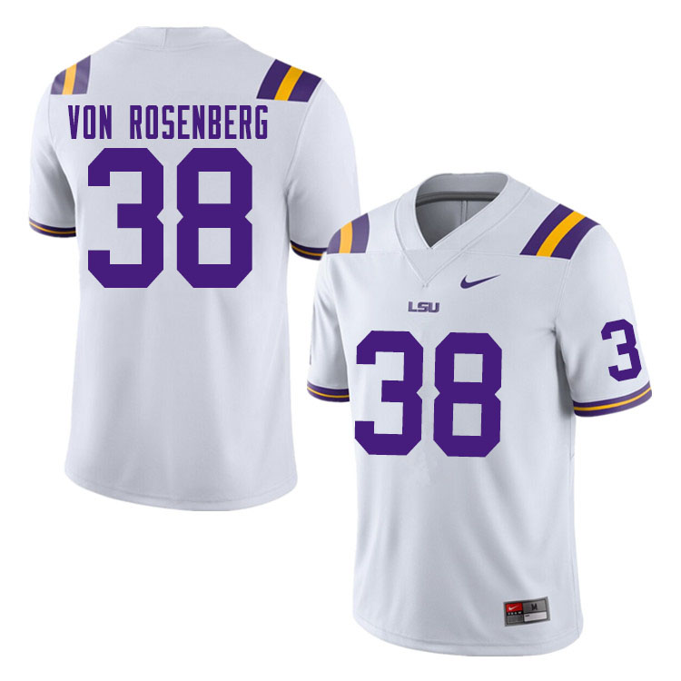 Men #38 Zach Von Rosenberg LSU Tigers College Football Jerseys Sale-White
