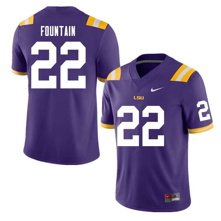 Men #22 Zaven Fountain LSU Tigers College Football Jerseys Sale-Purple
