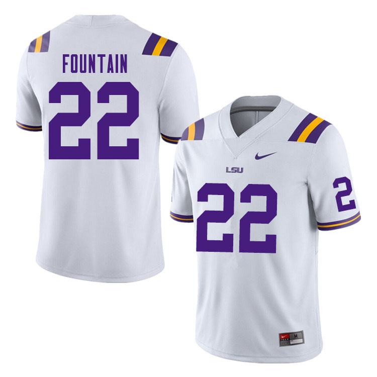 Men #22 Zaven Fountain LSU Tigers College Football Jerseys Sale-White