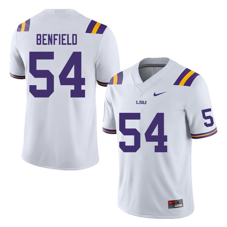Men #54 Aaron Benfield LSU Tigers College Football Jerseys Sale-White