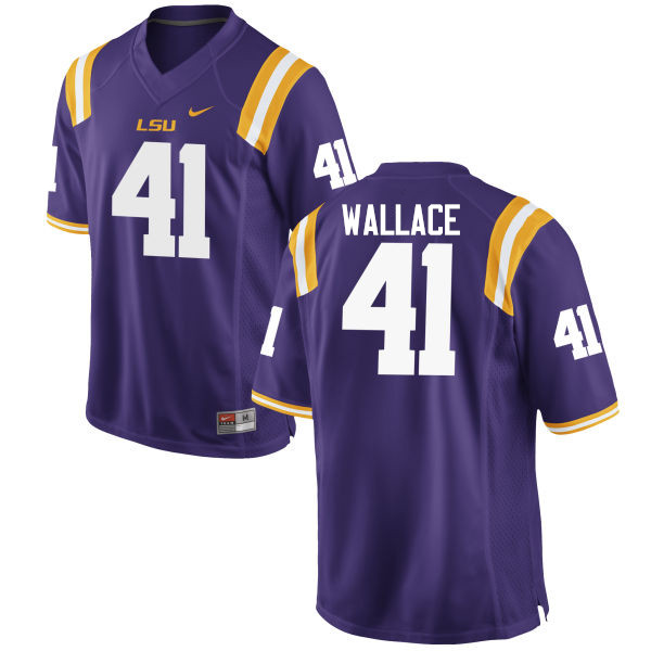 Men LSU Tigers #41 Abraham Wallace College Football Jerseys Game-Purple