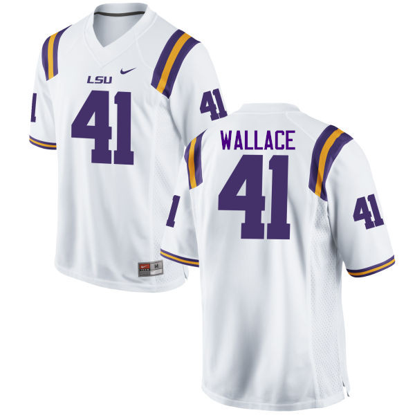 Men LSU Tigers #41 Abraham Wallace College Football Jerseys Game-White