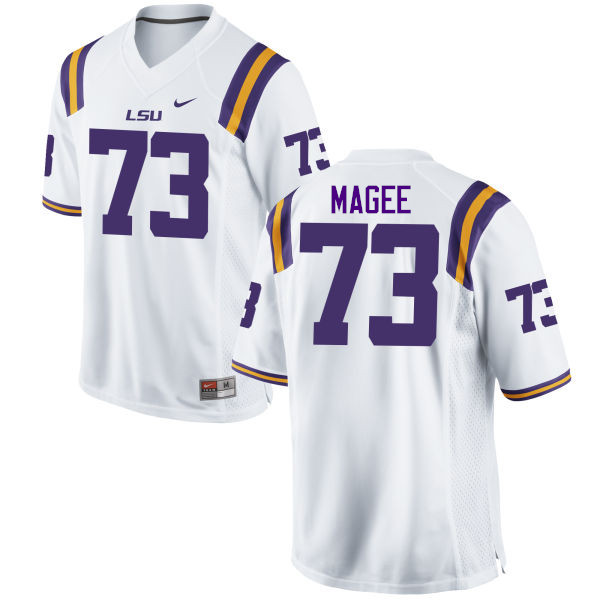 Men LSU Tigers #73 Adrian Magee College Football Jerseys Game-White