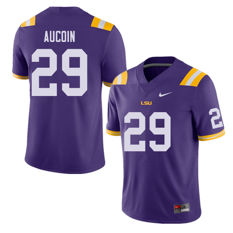 Men #29 Alex Aucoin LSU Tigers College Football Jerseys Sale-Purple