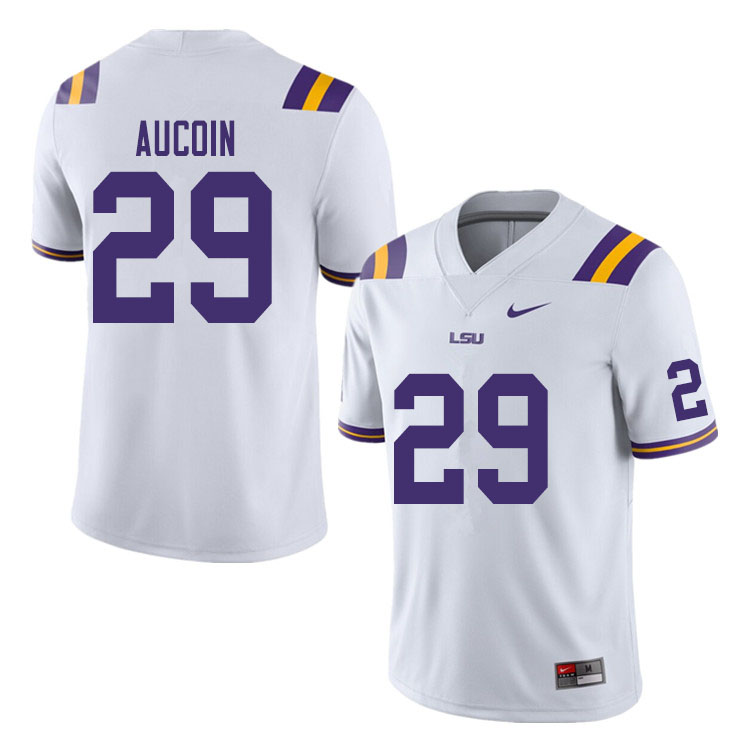 Men #29 Alex Aucoin LSU Tigers College Football Jerseys Sale-White