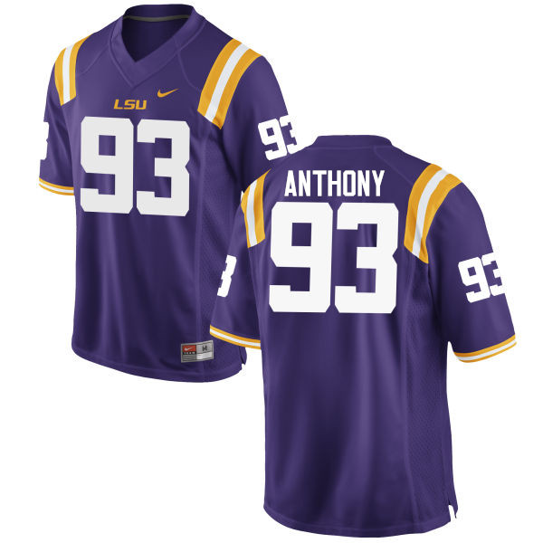 Men LSU Tigers #93 Andre Anthony College Football Jerseys Game-Purple