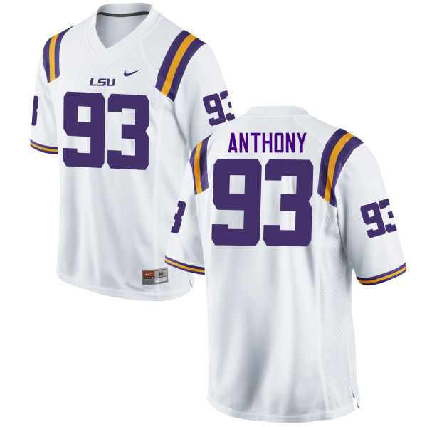 Men LSU Tigers #93 Andre Anthony College Football Jerseys Game-White