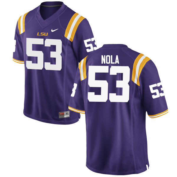 Men LSU Tigers #53 Ben Nola College Football Jerseys Game-Purple