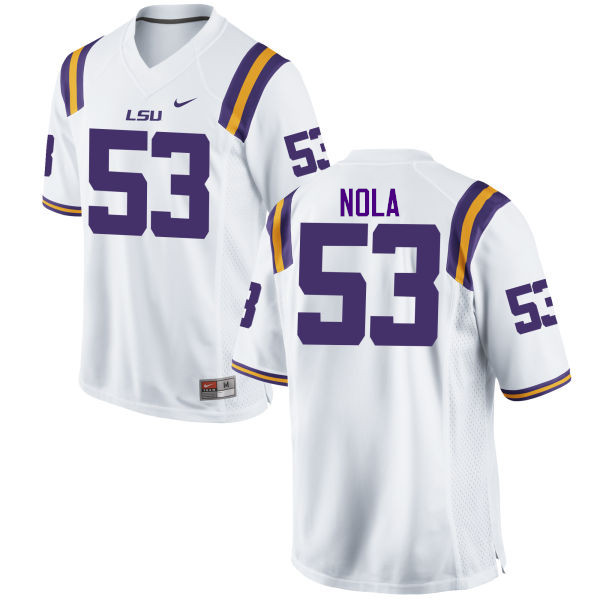 Men LSU Tigers #53 Ben Nola College Football Jerseys Game-White