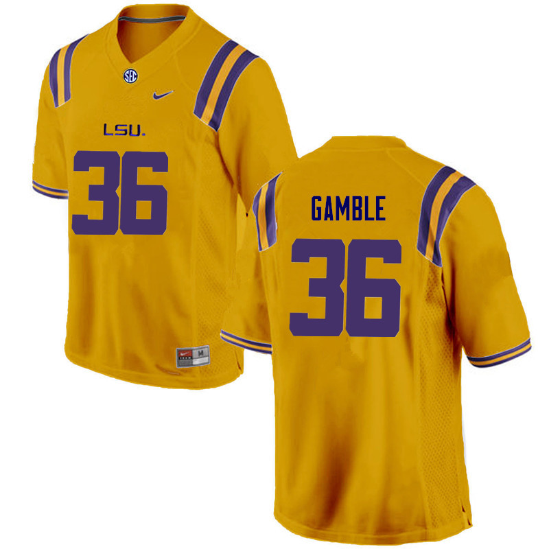 Men LSU Tigers #36 Cameron Gamble College Football Jerseys Game-Gold