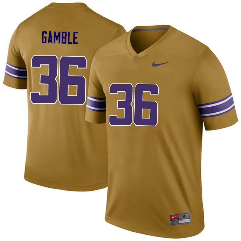 Men LSU Tigers #36 Cameron Gamble College Football Jerseys Game-Legend