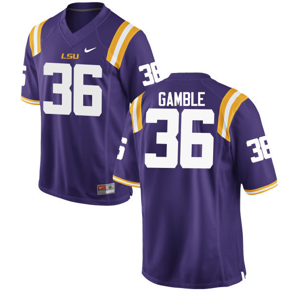Men LSU Tigers #36 Cameron Gamble College Football Jerseys Game-Purple