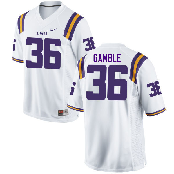 Men LSU Tigers #36 Cameron Gamble College Football Jerseys Game-White