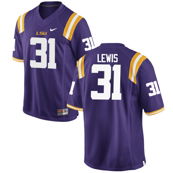 Men LSU Tigers #31 Cameron Lewis College Football Jerseys Game-Purple