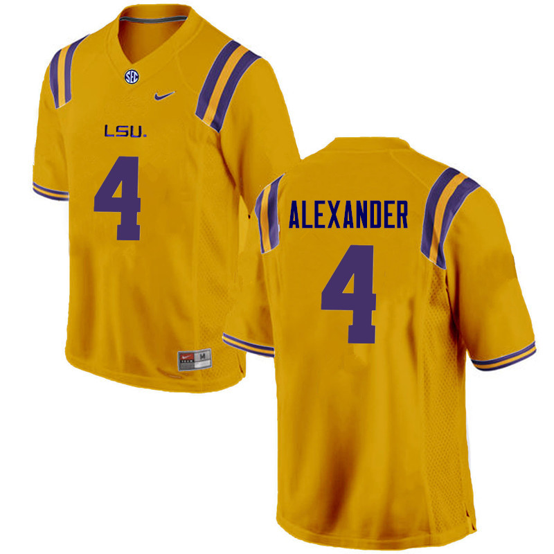 Men LSU Tigers #4 Charles Alexander College Football Jerseys Game-Gold