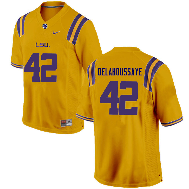 Men LSU Tigers #42 Colby Delahoussaye College Football Jerseys Game-Gold