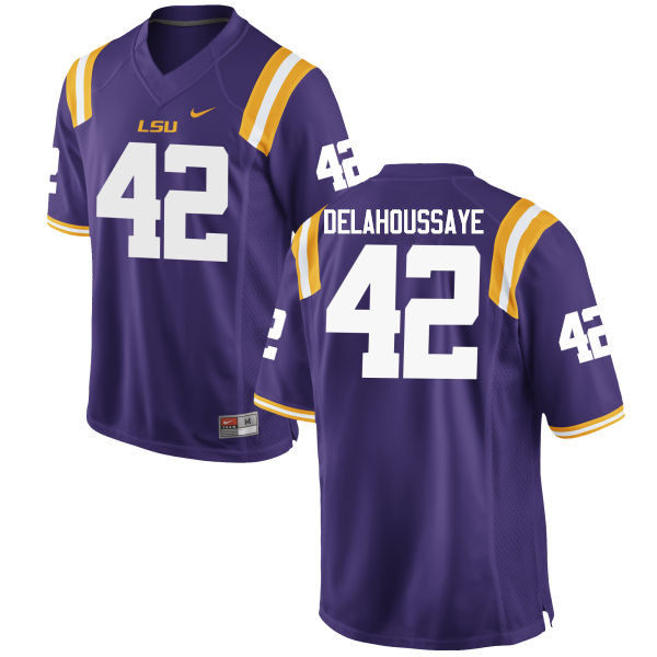 Men LSU Tigers #42 Colby Delahoussaye College Football Jerseys Game-Purple