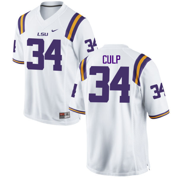 Men LSU Tigers #34 Connor Culp College Football Jerseys Game-White
