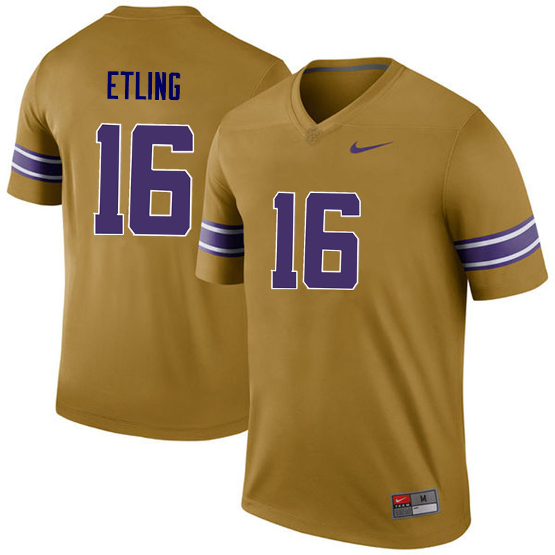 Men LSU Tigers #16 Danny Etling College Football Jerseys Game-Legend
