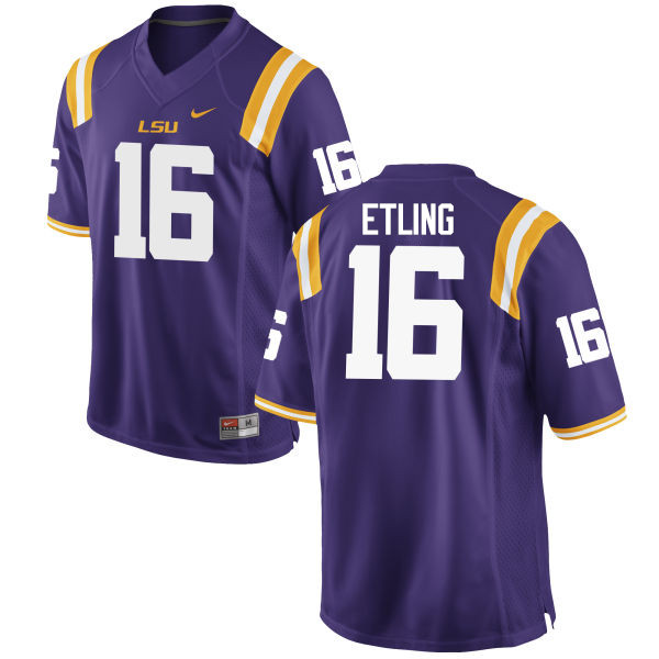 Men LSU Tigers #16 Danny Etling College Football Jerseys Game-Purple