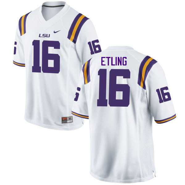 Men LSU Tigers #16 Danny Etling College Football Jerseys Game-White
