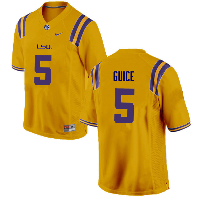 Men LSU Tigers #5 Derrius Guice College Football Jerseys Game-Gold