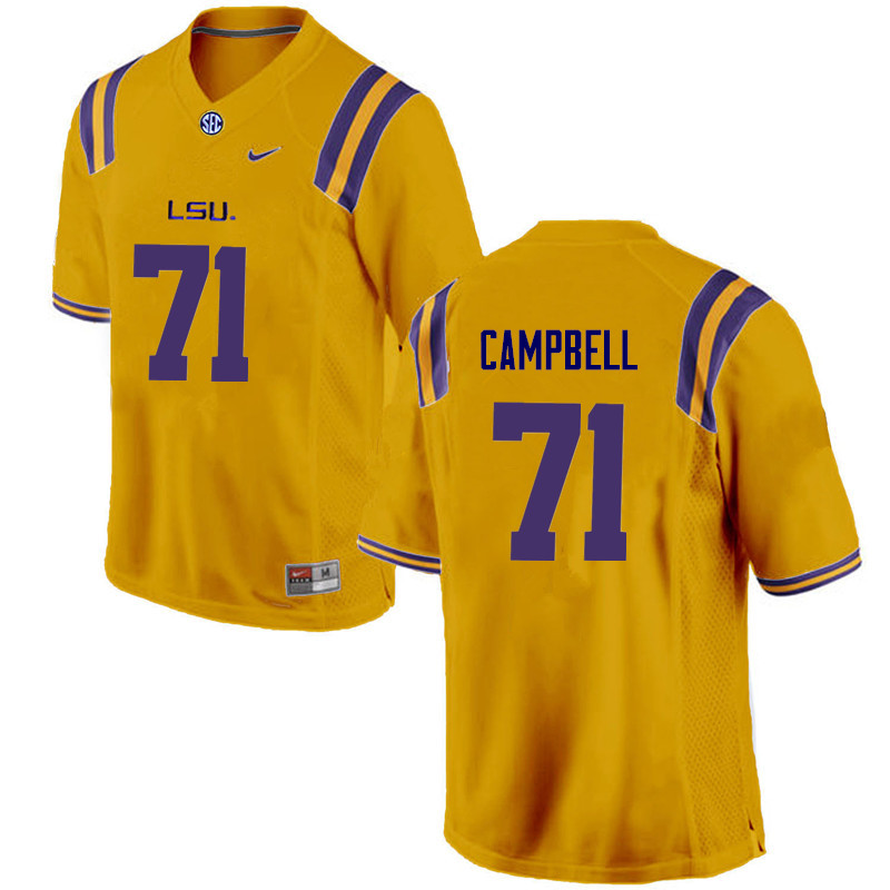 Men LSU Tigers #71 Donavaughn Campbell College Football Jerseys Game-Gold