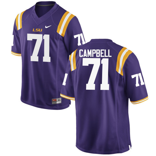 Men LSU Tigers #71 Donavaughn Campbell College Football Jerseys Game-Purple