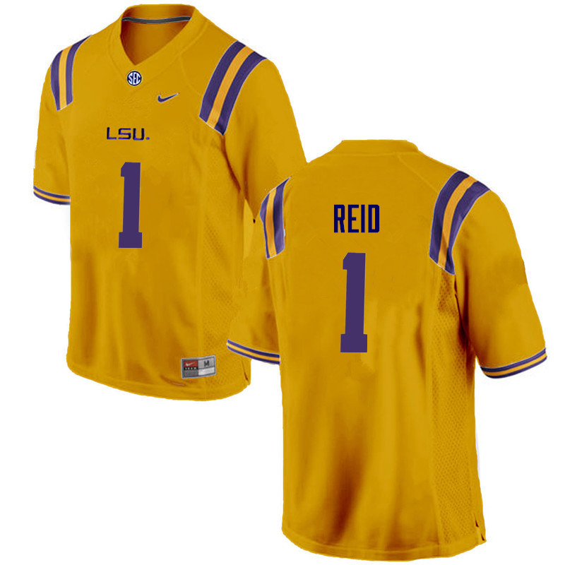 Men LSU Tigers #1 Eric Reid College Football Jerseys Game-Gold