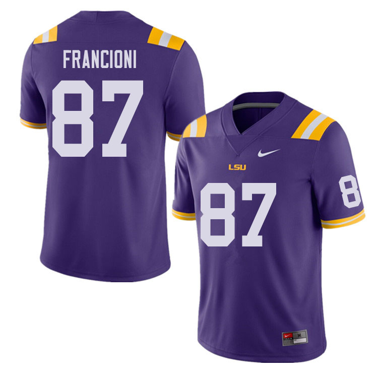 Men #87 Evan Francioni LSU Tigers College Football Jerseys Sale-Purple