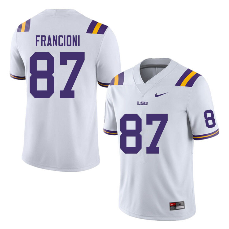Men #87 Evan Francioni LSU Tigers College Football Jerseys Sale-White