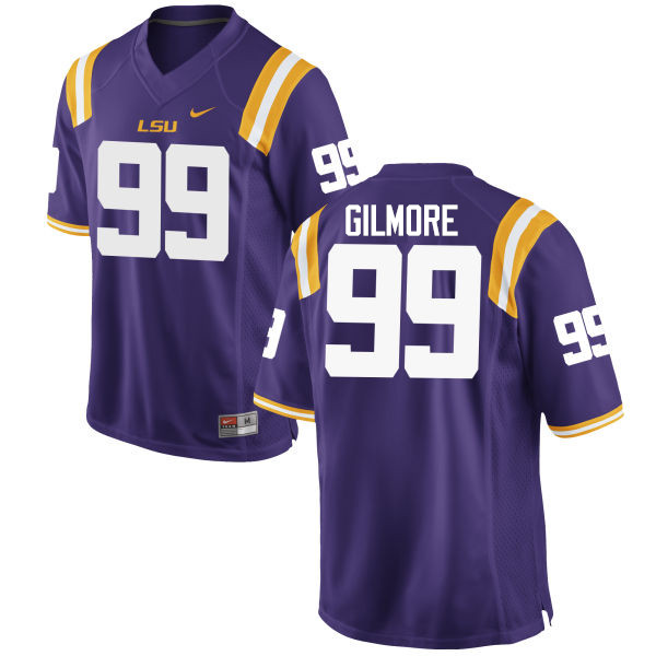 Men LSU Tigers #99 Greg Gilmore College Football Jerseys Game-Purple