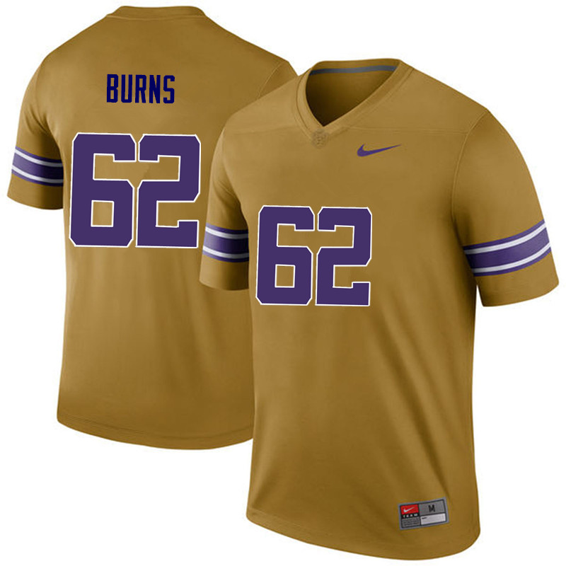 Men LSU Tigers #62 Hunter Burns College Football Jerseys Game-Legend