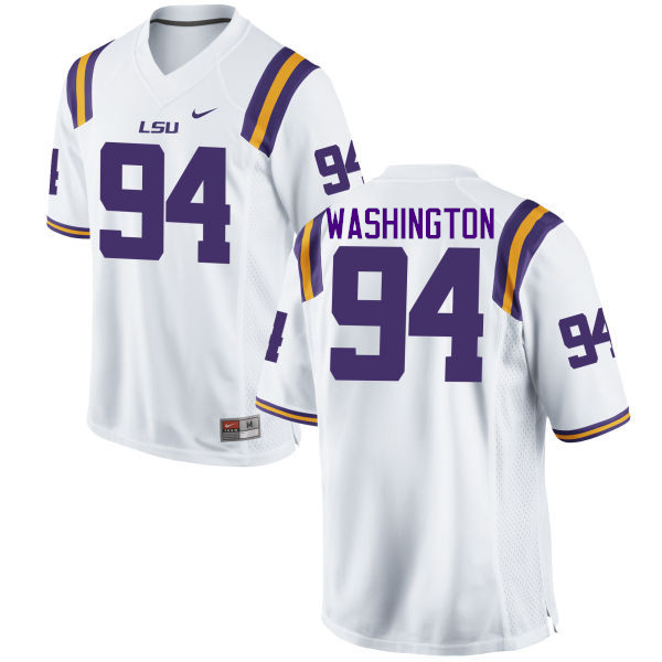 Men LSU Tigers #94 Isaiah Washington College Football Jerseys Game-White