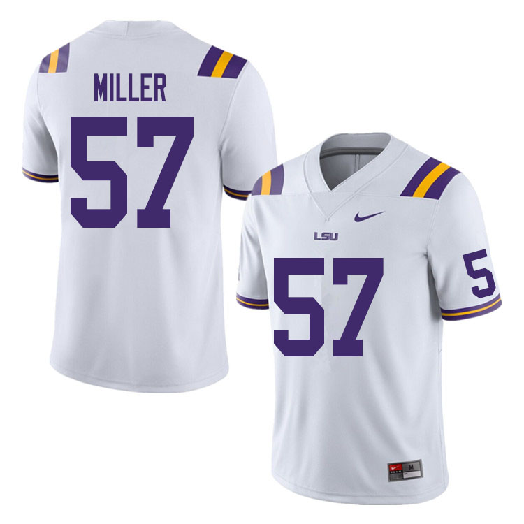 Men #57 Jace Miller LSU Tigers College Football Jerseys Sale-White