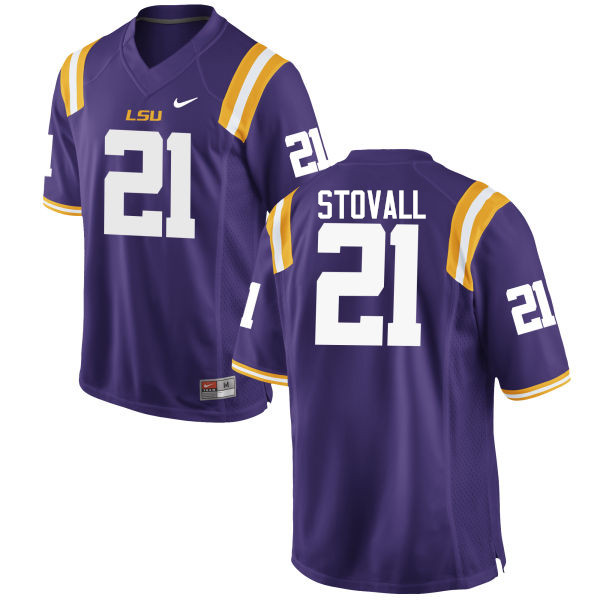 Men LSU Tigers #21 Jerry Stovall College Football Jerseys Game-Purple