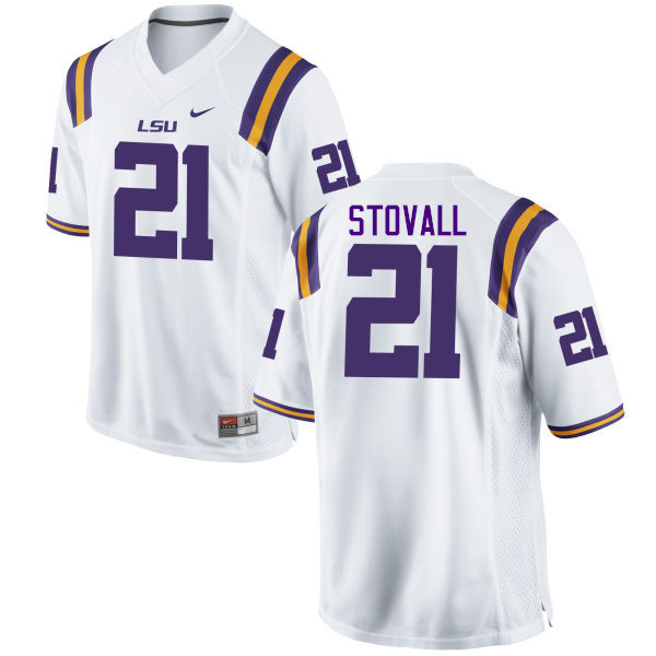 Men LSU Tigers #21 Jerry Stovall College Football Jerseys Game-White