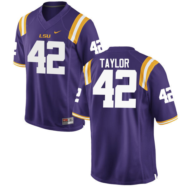 Men LSU Tigers #42 Jim Taylor College Football Jerseys Game-Purple