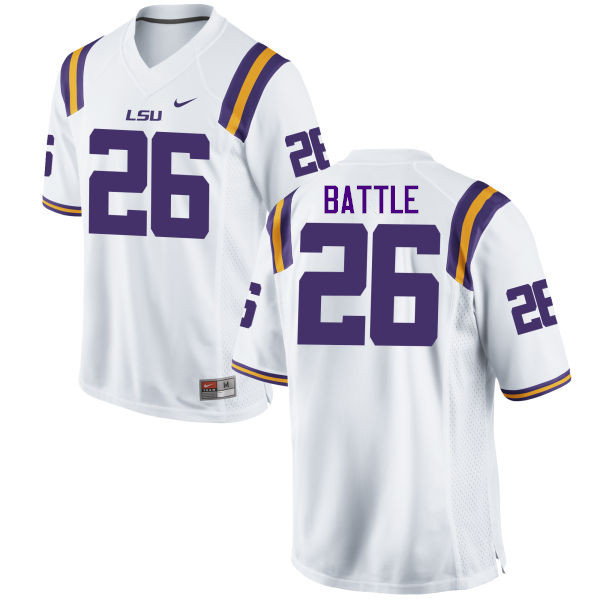 Men LSU Tigers #26 John Battle College Football Jerseys Game-White
